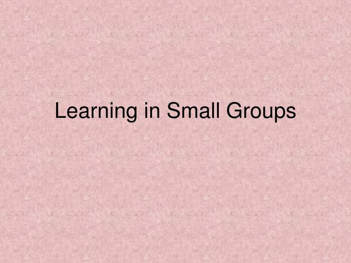 Learning in Small Groups
