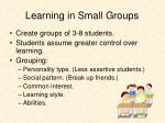 learning in small groups1