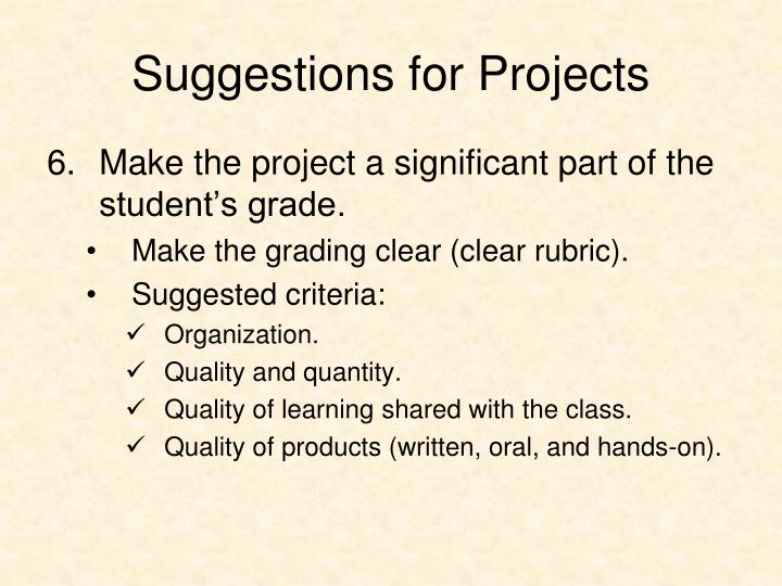 Suggestions for Projects