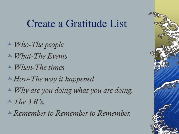 Create a Gratitude List