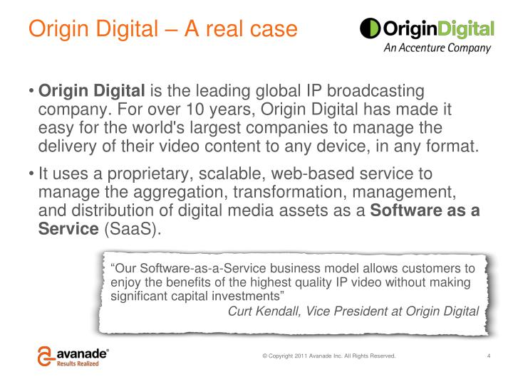 Origin Digital – A real case