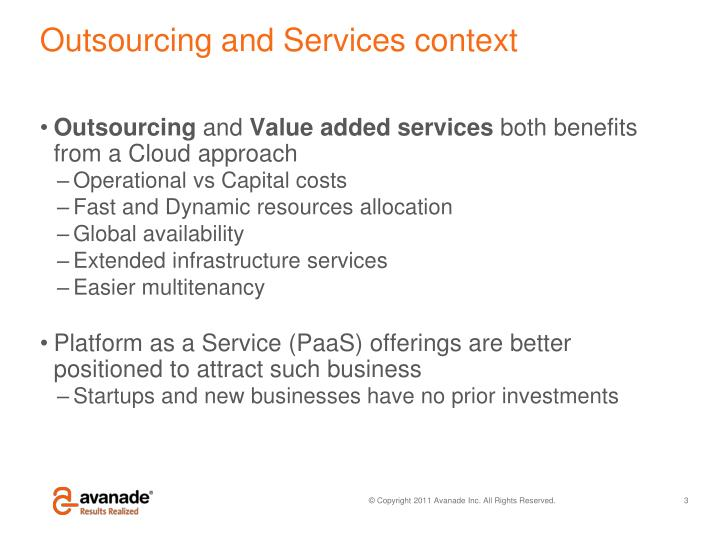 Outsourcing and services context