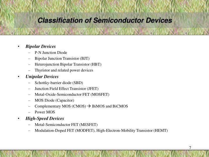 Classification of Semiconductor Devices