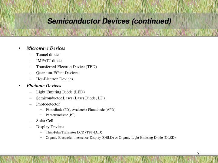 Semiconductor Devices (continued)