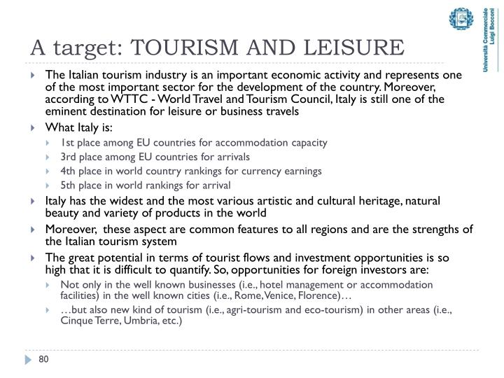 A target: TOURISM AND LEISURE
