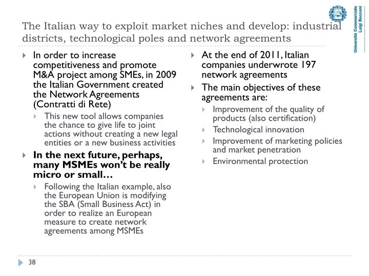 The Italian way to exploit market niches and develop: industrial districts, technological poles and network agreements