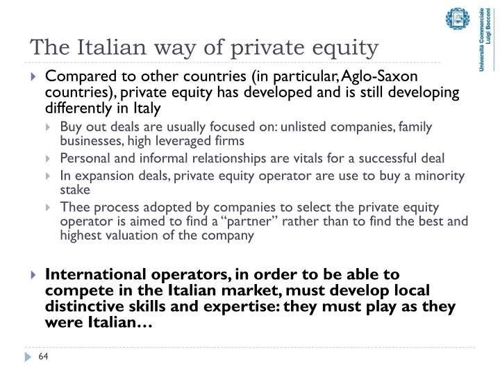 The Italian way of private equity