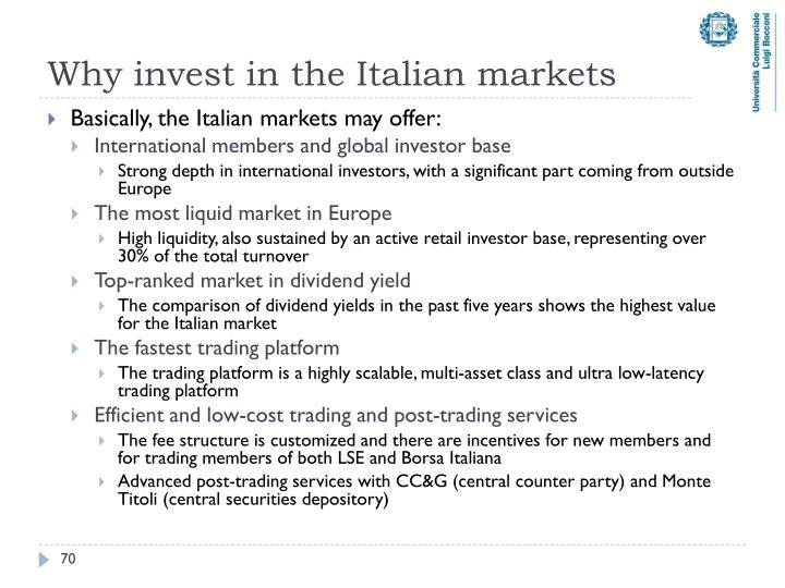 Why invest in the Italian markets