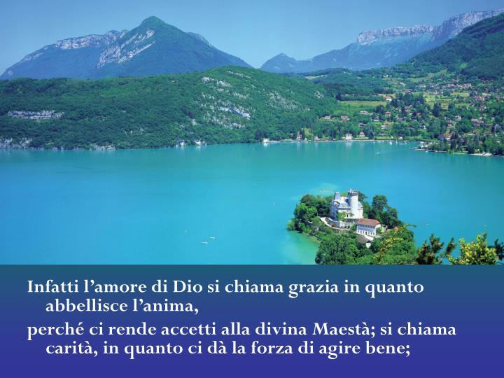 Infatti l'amore di Dio si chiama grazia in quanto abbellisce l'anima,