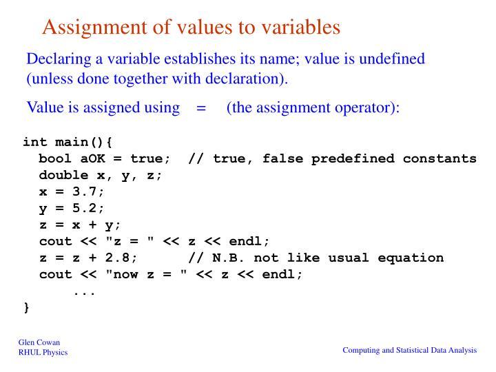 assignment value