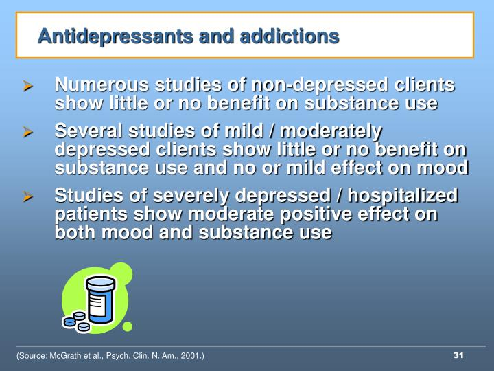 Antidepressants and addictions