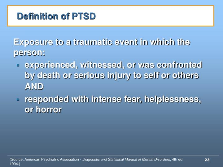 Definition of PTSD