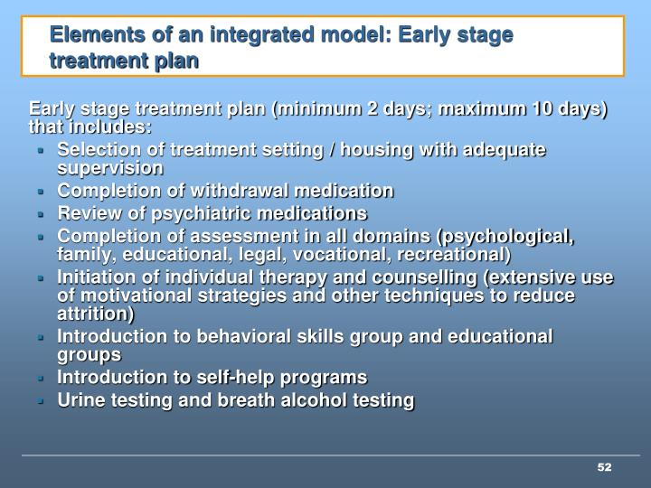 Elements of an integrated model: Early stage treatment plan