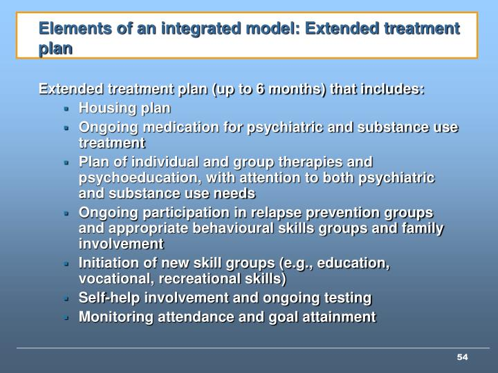 Elements of an integrated model: Extended treatment plan