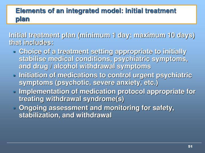 Elements of an integrated model: Initial treatment plan