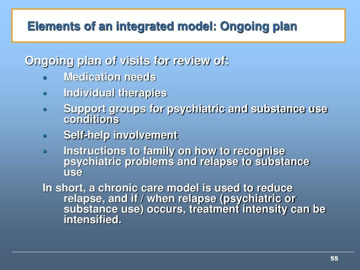 Elements of an integrated model: Ongoing plan