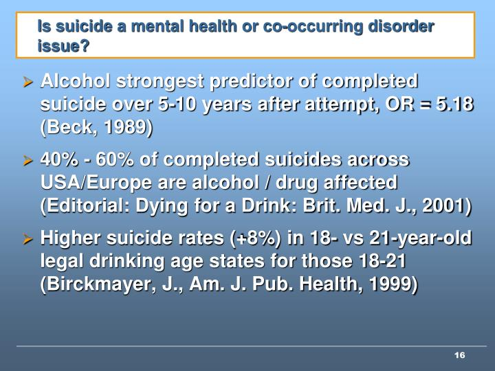 Is suicide a mental health or co-occurring disorder issue?