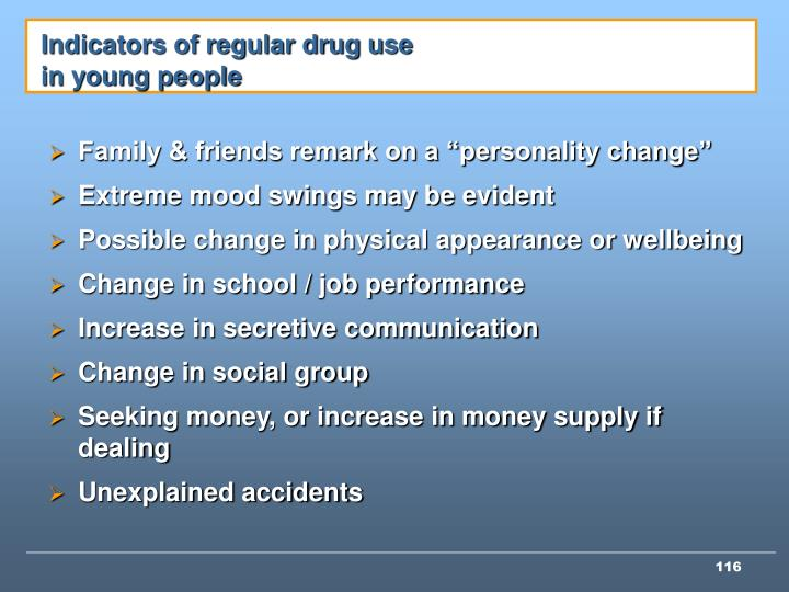 Indicators of regular drug use