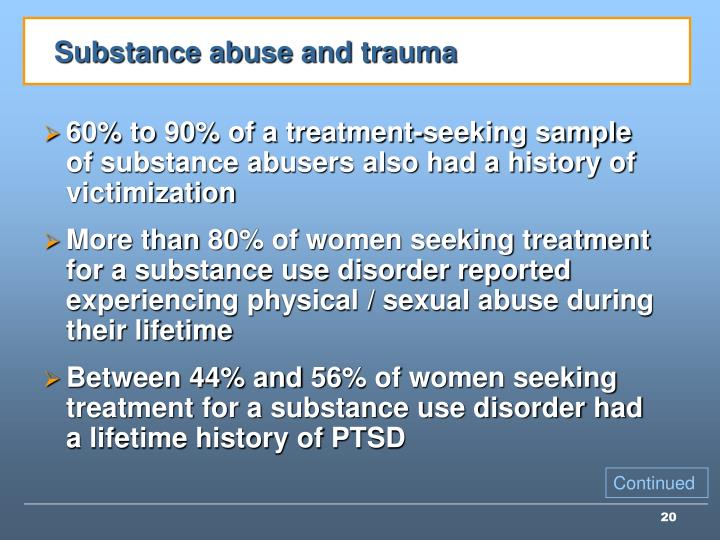 Substance abuse and trauma