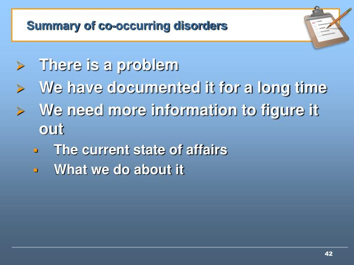 Summary of co-occurring disorders