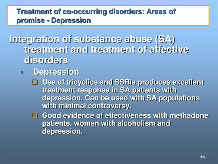 Treatment of co-occurring disorders: Areas of promise - Depression