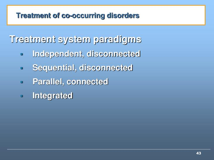 Treatment of co-occurring disorders