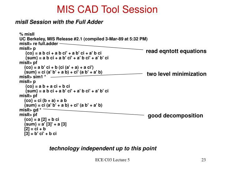 MIS CAD Tool Session