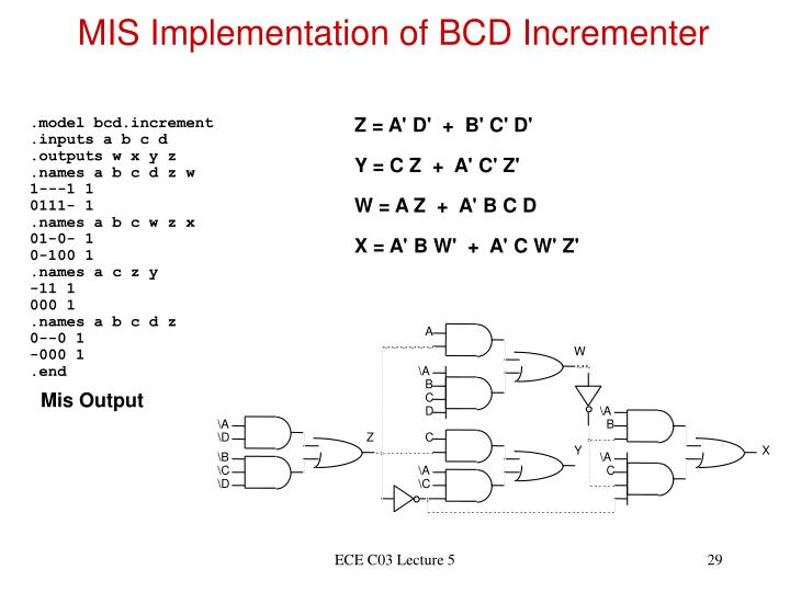 MIS Implementation of BCD Incrementer