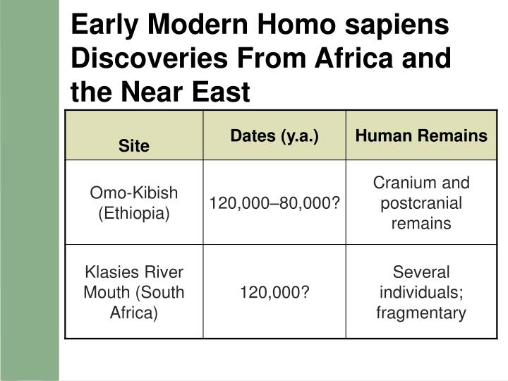 Early Modern Homo sapiens Discoveries From Africa and the Near East