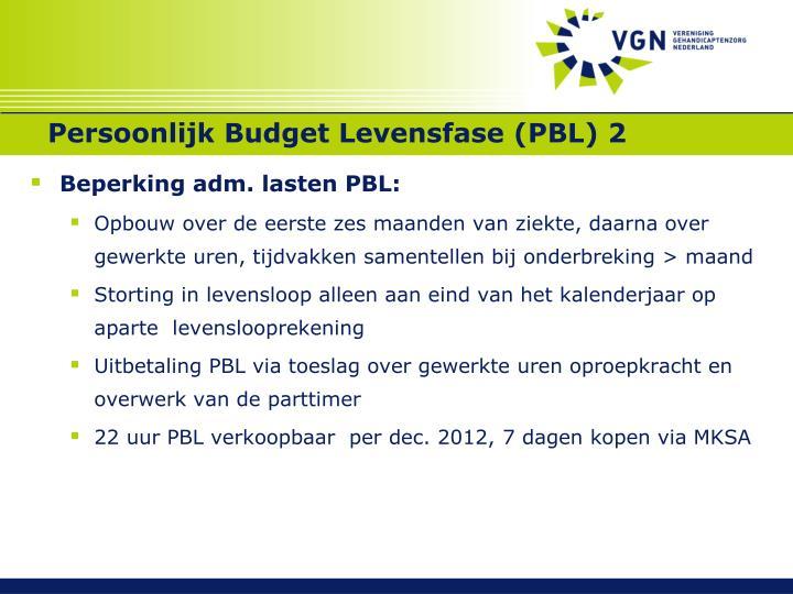 Persoonlijk Budget Levensfase (PBL) 2