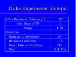 duke experience enteral