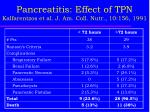 pancreatitis effect of tpn kalfarentzos et al j am coll nutr 10 156 19913