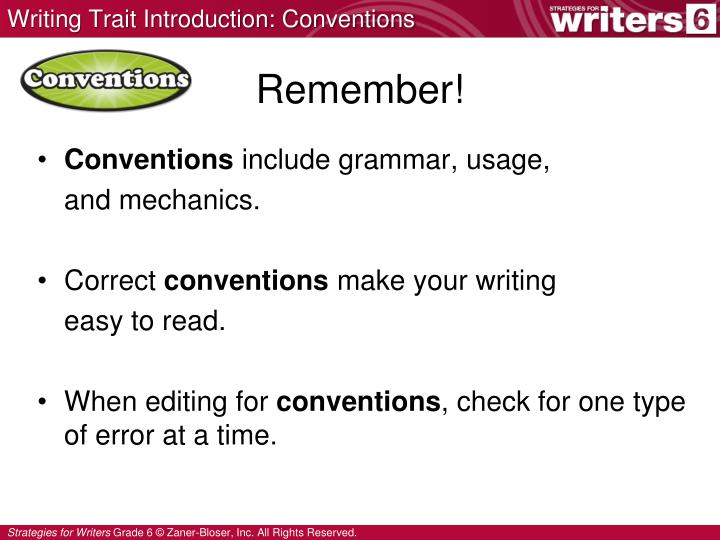 Writing Trait Introduction: Conventions