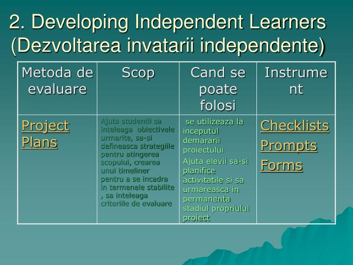 2. Developing Independent Learners