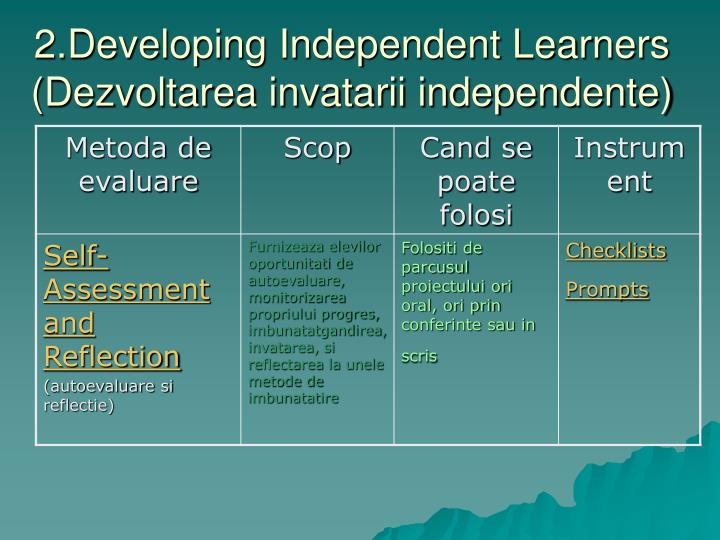 2.Developing Independent Learners