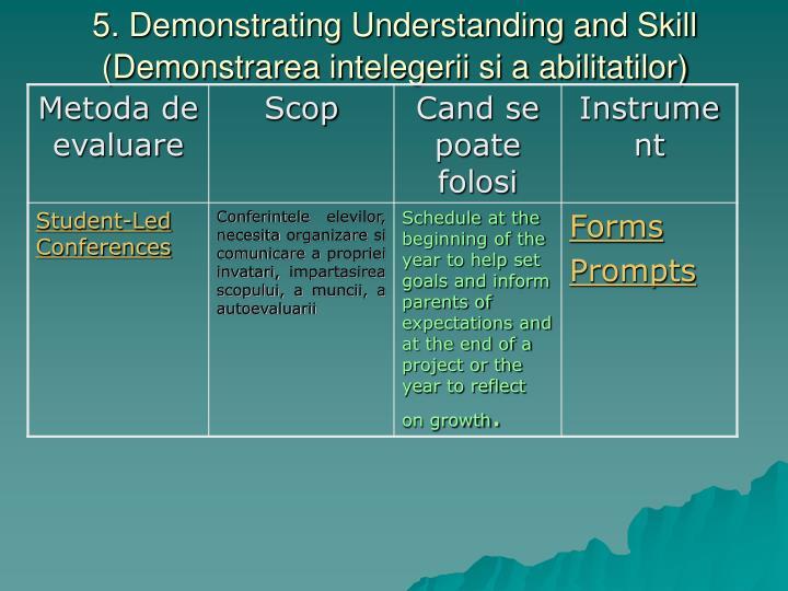 5. Demonstrating Understanding and Skill