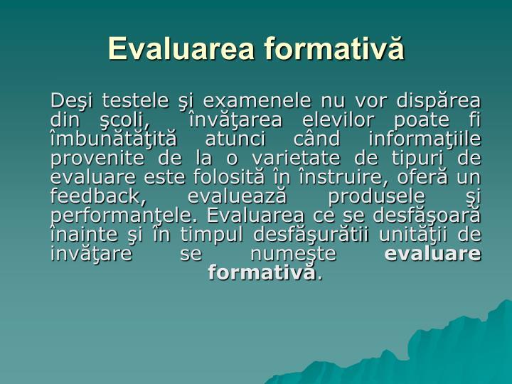 Evaluarea formativă
