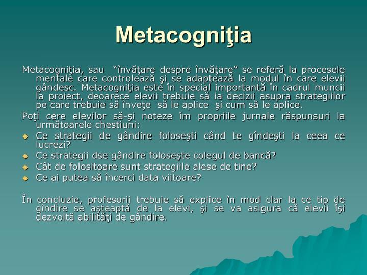 Metacogniţia