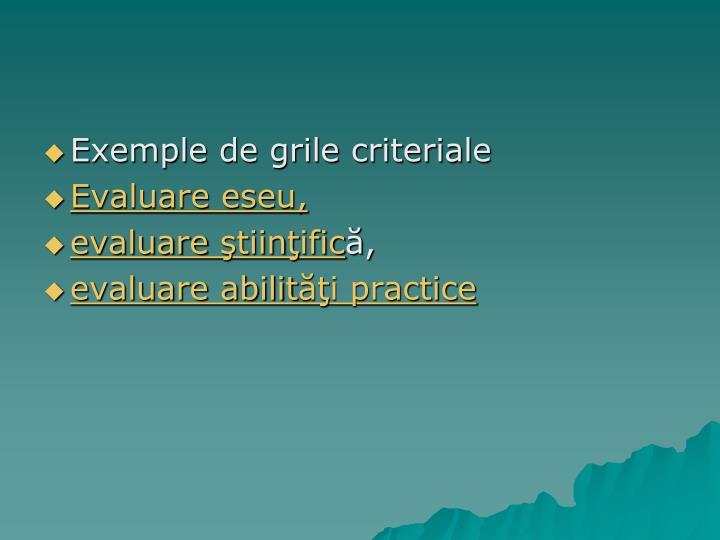 Exemple de grile criteriale