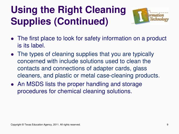 Using the Right Cleaning Supplies (Continued)