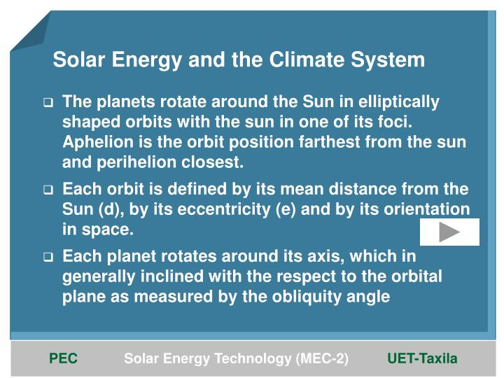 Solar Energy and the Climate System
