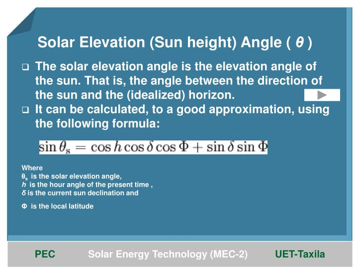 Solar Elevation (Sun height) Angle (