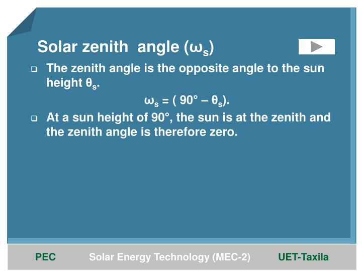 Solar zenith  angle (