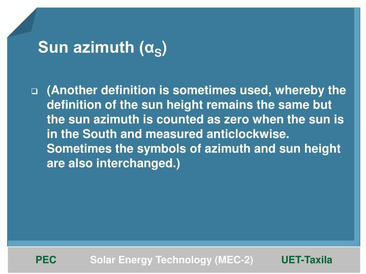 Sun azimuth (α