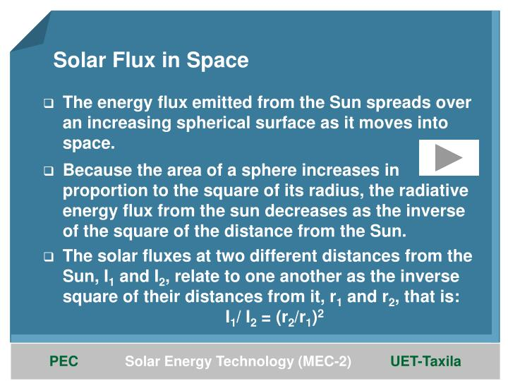 Solar Flux in Space
