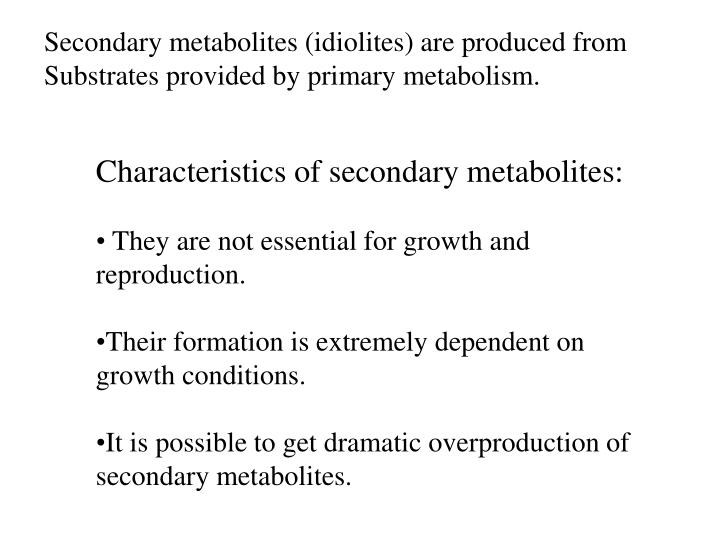 Secondary metabolites (idiolites) are produced from
