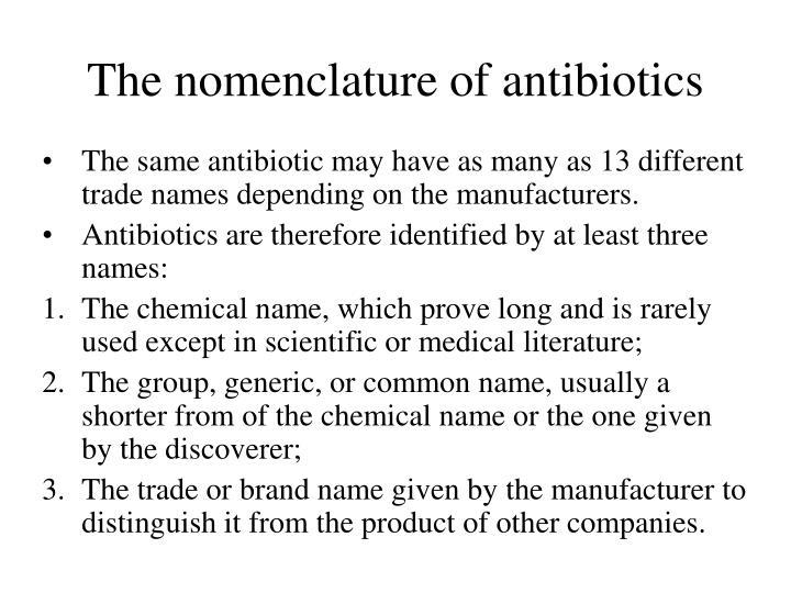 The nomenclature of antibiotics