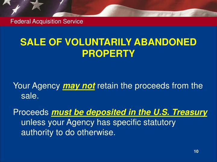 SALE OF VOLUNTARILY ABANDONED PROPERTY