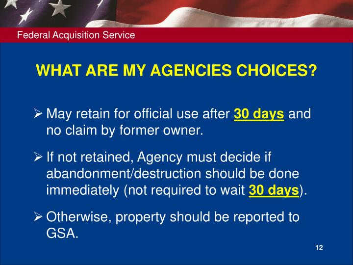 WHAT ARE MY AGENCIES CHOICES?