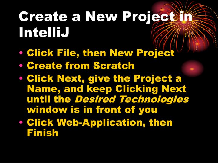 Create a new project in intellij